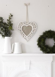 Beautiful heart shaped ornate carved frame with distressed white painted finish, measures Heart Frame, Heart Shapes, Carving, Interiors, Beautiful, Wood Carvings, Sculptures, Decoration Home, Printmaking