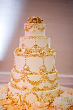 This is so ornate but not my still. Yet, I still like it. Metallic Wedding Cakes | bellethemagazine.com