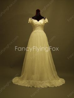 fancyflyingfox.com Offers High Quality Off The Shoulder Short Sleeves White Tulle Full Length Princess Wedding Dresses With Lace Appliques    ,Priced At Only US$265.00 (Free Shipping)