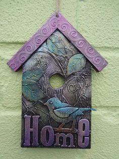 Birdhouse hanger original mixed media by LindsayMasondesigns