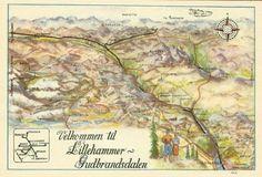 Oppland fylke Lillhammer -Gudbrandsdalen kart på postkort Utg Lillehammer-Gudbrandsdal Turisttrafikk-forening.