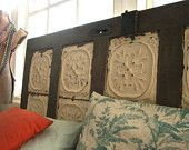 Antique Headboard with Ceiling Tin by DoormanDesigns on Etsy -   So cool! Love it!