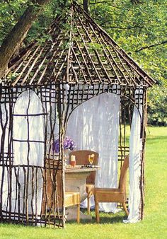 secret hideaway in woods? Cover in Plants!! JUST  N O T  WISTERIA!