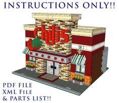 Lego-Custom-Modular-Building-Chilis-Restaurant-INSTRUCTIONS-ONLY