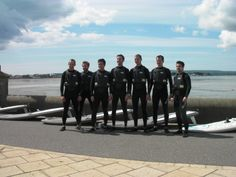 Stand to attention! Stag Do posing for a photo before getting on the water for their windsurf lesson.  #poolewindsurfing #windsurfinglessons #stagdowindsurfing