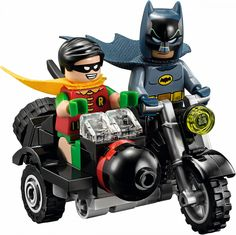 The Famous Batman and Robin in action on their Motorcycle, build in Lego. Appears in the exclusive Lego set the Batcave.  See it on olgo.nl