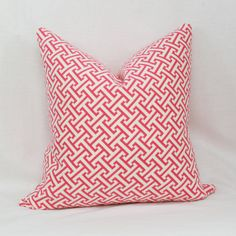 Pink & white Greek key decorative throw pillow by JoyWorkshoppe