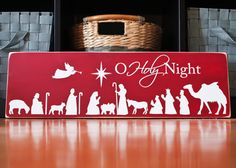 7x24 solid wood  nativity silhouette  sign plaque home by lindsmig, $40.00