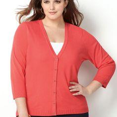 3/4-Sleeve Cardi-Plus Size Cardi-Avenue