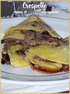 Crespelle ripiene di radicchio e gorgonzola (Crepes stuffed with radicchio and gorgonzola)