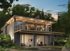 Pre-engineered home. Look at the pictures of the inside design Houses On Slopes, Plan Chalet, Chalet Design, Hillside House, Small Modern Home, Duplex House, Tiny House Cabin, Small House Plans, House Goals