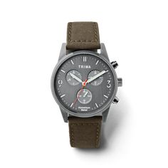 Case size: 39 mm Case: Humanium Metal, slate grey Dial: Brushed steel, slate grey Strap: 20 mm canvas strap made from recycled plastic Strap Color: Olive Green Buckle: Stainless steel Water resistant: 5 ATM Movement: Miyota JS00 Canvas Leather, Firearms, Chronograph, Two By Two, Guns, Quartz, Watches, Metal, Accessories