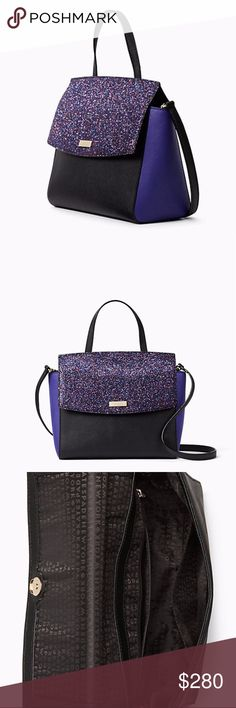 """kate spade laurel way glitter alisanne the handbag: it's your constant companion, your security blanket, your way-more-than-an-accessory accessory. crosshatched leather with matching trim,capital kate jacquard lining14-karat gold plated hardware 8.8""""h x 8.8""""w x 4.7""""d, drop length: 12"""" handheld, 22"""" adjustable strap,total adjustable strap length: 44"""" satchel with snap flap closure,interior zipper and slide pocket,kate spade new york staple signature kate spade Bags Satchels"""