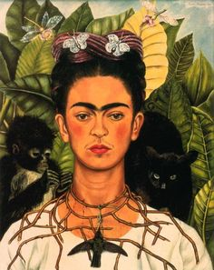 Frida Kahlo - Self Portrait with Thorn Necklace, Hummingbird, Cat and Monkey, 1940
