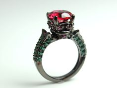 Black Gold Ring Women Red Ruby Emerald Zirconia Wedding Engagement Anniversary Promise Rings Goth Unique Jewelry Women Gift for her via ANGELS IRON. Click on the image to see more!
