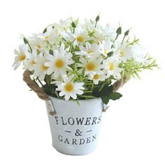 2 Bunches Artificial Flowers Daisy Wedding Home Garden Floral Decor White