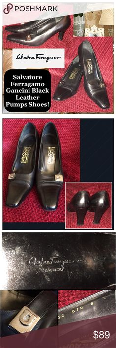 "Salvatore Ferragamo Gancini Black Leather Shoes! Salvatore Ferragamo Gancini Black Leather Pumps Shoes! Features: black smooth leather, ""Ferragamo"" silver-tone hardware. Size 8C. Made in Italy.  Stamped ""FERRAGAMO"" on Gancini hardware, 3 1/4"" across widest part on bottom, 10"" insole length, 3"" heel. Some ext scratches & wear on bottom & heels. Good condition. Dressy & comfortable shoes for the upcoming holidays! Offers welcome! Salvatore Ferragamo Shoes Heels"