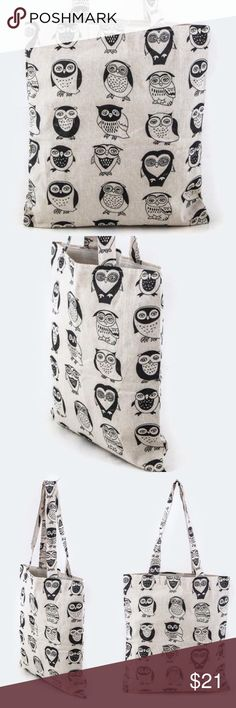 """Owl Tote We love this bag! Perfect to hold all your goodies! AND..the Owls ❤️  Length - 13"""" Width - 4"""" Height - 14"""" - 24"""" With Handle Canvas Material Lead & Nickel Compliant Owl About Happy  Bags Totes"""