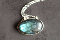 Labradorite Necklace/Labradorite Pendant/Blue Flash Labradorite Necklace/Butterfly Wing Necklace/Labradorite and Sterling Silver/Hallmarked
