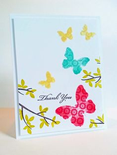 I used A Muse Studio Butterfly Trio Die to make my own stencil for this stencil and stamp technique card. Learn this fun technique with me in my October Many Thanks card making class. - http://www.kitchentablestamper.com