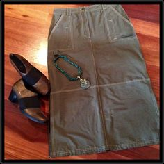 "NN DOROTENNIS PENCIL SKIRT  EUC Worn Once EUC   Classy PENCIL SKIRT. Army green with tan stitching, This skirt is adorable! No size found on label.  Measures at a 6.  See specific measurements in photo.  Love this piece!  Although the 6"" front zipper works perfectly, it refuses to cooperate when  try to zip it up!  Dorotennis Skirts Midi"