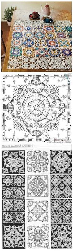 Persian tile blanket perhaps. Crochet Doilies, Filet Crochet, Crochet Granny, Crochet Motifs, Irish Crochet, Crochet Flowers, Table Cloth Crochet, Crochet Tablecloth Pattern, Crochet Mandala Pattern