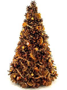 Choinka z szyszek pomarańczowa - Zielonepalce - Dekoracje bożonarodzeniowe