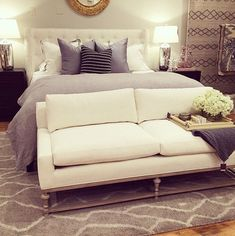 The Bottom-of-Bed Perch - Alice Lane Home Interior Design Bedroom Couch, Dream Bedroom, Home Bedroom, Master Bedroom, Bedroom Decor, Bedroom Ideas, Small Couch For Bedroom, End Of Bed Sofa, End Of Bed Seating