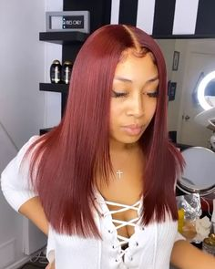 Thriving Hair Pure Burgundy Red Color Virgin Human Hair Smooth Silky Straight Full Lace Wigs For Women Baddie Hairstyles, Weave Hairstyles, Straight Hairstyles, Wedding Hairstyles, Homecoming Hairstyles, Hair Streaks, Hair Highlights, Peekaboo Highlights, Purple Highlights