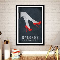 Name: Vladimir Nabokov: Lolita  Available Sizes: 8x10, 12x18, 16x20 and 16x24  FOR OTHER SIZES PLEASE MESSAGE ME.  This listing is for a print celebrating the life and most widely known work of Russian author Vladimir Nabokov.  Vladimir Nabokov was born in Russia in 1899. He was primarily a novelist. His initial output was mainly in his native tongue, but he eventually rose to fame as a writer of English prose. His best known work is Lolita, a novel which exhibits the highly controversial…