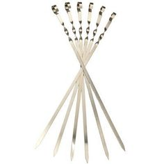 "6 Long Flat Stainless Steel Skewers.(L 22,8"" /W 0,45"" /T 0,05"") . $27.00. These skewers are for 1"" to 1.5"" size cubes of meat.. Measures 22,8 inches long (60 Sm). Stainless Steel. Not dishwasher safe. Peel off label by hand. Place skewer on hot grill for 5 min. Wipe off what's left.. For those who like shish-kabobs, our flat metal skewers offer you strong and durable options when it is time for grilling. The sharp ends and sturdy design make it easy to put on them a wid..."