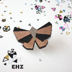 Ehz bijoux broche bijou papillon origami géométrie cuivre et noir