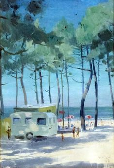 Lot 247 - ***Gerald Norden (1912-2000) - Oil painting - Beach scene with caravan and trees, panel, 10ins x