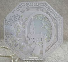 Wedding Card Creative Brides Ideas For 2019 Wedding Day Cards, Wedding Cards Handmade, Diamond Wedding Anniversary Cards, Anniversary Verses, Happy Anniversary, Hexagon Cards, Tattered Lace Cards, Parchment Cards, Craft Wedding