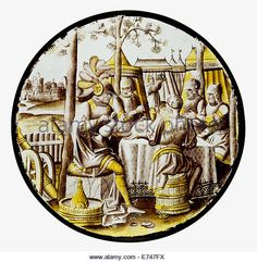 Stained Glass Roundel with Ben-Hadid and the Siege of Samaria, 1525 - Stock Image