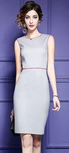 Fashion O-Neck Sleeveless Pure Color Bodycon Dress