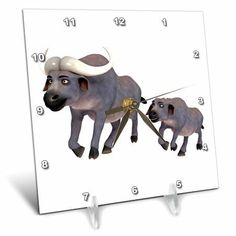 3dRose A cartoon cape buffalo mother and son running, Desk Clock, 6 by 6-inch
