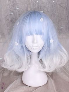 Sweet Lolita Wigs Light Blue And White Short Curly Lolita Hair Wigs With Bangs Kawaii Hairstyles, Pretty Hairstyles, Frontal Hairstyles, Wig Hairstyles, Updo Hairstyle, Wedding Hairstyles, Red Lace Front Wig, Kawaii Wigs, Lolita Hair