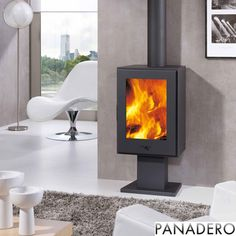 The Zenia - 10kw Contemporary Wood Burning Stove UK912 With its steel construction, it heats up in no time at all and boasts an output of 10kW. The opening to put logs in is 357mm x 500mm. The burning chamber is still large enough to burn good sized logs and the heat output is high enough to heat even large rooms with ease. The Panadero Zenia stove is designed primarily as a wood burner but features a grate and ash pan for burning smokeless fuels.