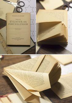 Juletræ foldet af gammel bog - juletræ i papir DIY | www.vangelyst.dk