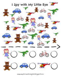 http://waytomasterenglish.blogspot.com/2015/10/i-spy-with-my-little-eye.html I spy with my little eye, toys, exercise, kids, young learners, worksheet