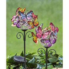 Solar Light Crafts, Solar Lights, Diy Solar, Warm White Fairy Lights, Butterfly Decorations, Lawn Decorations, Cemetery Decorations, Raised Garden Beds, Raised Bed