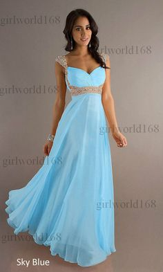Long Chiffon Evening Formal Party Ball Gown Prom Bridesmaid Dress6 8 10 12 14 16   eBay