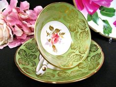 Royal Grafton tea cup and saucer lime green & roses center gold gilt teacup pattern Tea Cup Saucer, Tea Cups, Tea Pot Set, Vintage China, Vintage Teacups, My Cup Of Tea, Tea Time, Tea Party, Pottery