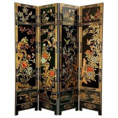 Oriental Furniture 6' Tall Four Seasons Flowers Screen ($949) ❤ liked on Polyvore featuring home, home decor, panel screens, asian room dividers, wood room dividers, wood screen, asian home decor and asian inspired home decor