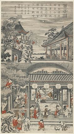 """1743. One Hundred Boys, hanging scroll made with 3 woodblocks impressed on a 38"""" sheet of paper. Qing Dynasty, China."""