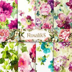 Watercolor Floral Floral Paper Digital Paper Pack by rosaliks Digital Scrapbook Paper, Butterfly Flowers, Flower Art, Paper Background, Background Patterns, Watercolor Paper, Floral Watercolor, Carta Collage, Paper Art