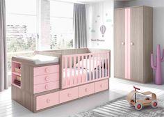 Dormitorio juvenil: Dormitorio de Bebé con cuna convertible rosa | Dormitorio de Bebé equipado con cuna convertible para colchón de 140x70F. Medida total montada com