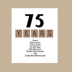Die 75. Jahrzehnt Geburtstagskarte ist sicher, dass die Recepeint Lächeln! Die Karte ist auf 100£ weiß matt Karton gedruckt, misst 5 x 7 und ist individuell erzielt, wodurch ein sauberes Falten. Jede Karte kommt mit einem weißen Umschlag und wird in einem durchsichtigen Cellophan