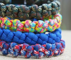 Crown Knot Bracelets — one of our unique, stylish weaves. These colorful bracelets are made with 550 paracord. #paracord #bracelet